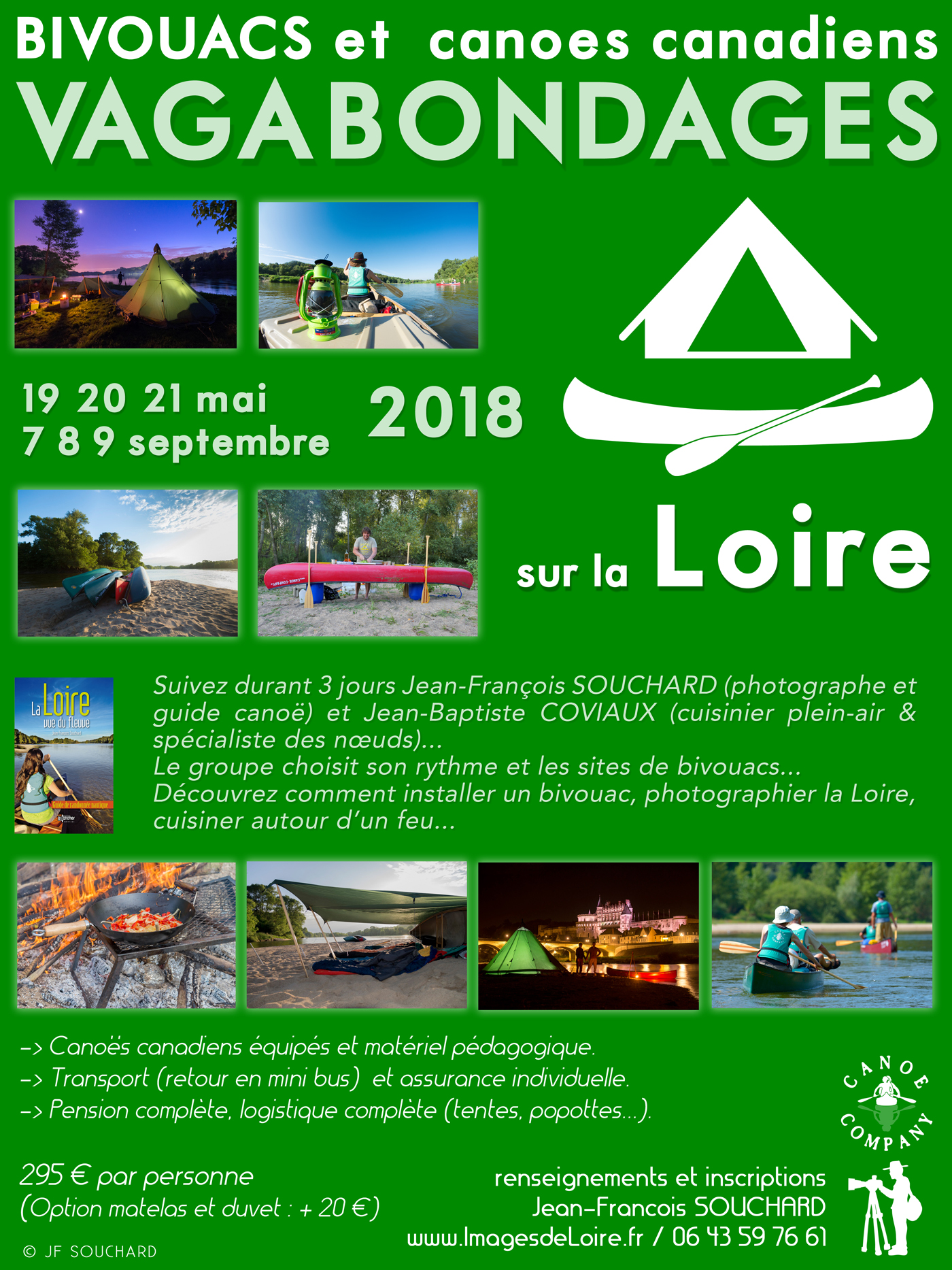 Canoës canadiens, bivouacs, vagabondages, Loire